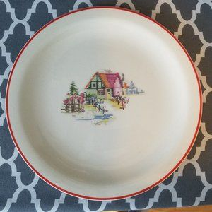 "Crooksville Pottery Petit Point 12"" Plate"